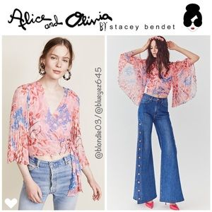 "Alice + Olivia ""Bray"" Lola floral wrap crop top M"
